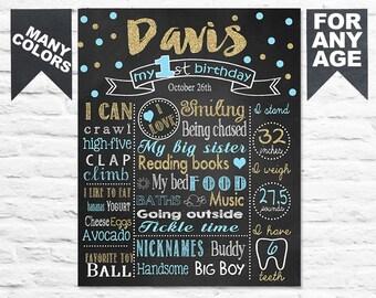 Confetti First Birthday Chalkboard Sign For Boy