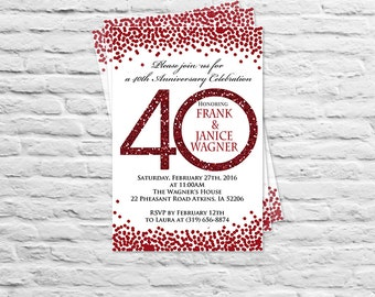 40th anniversary invitations etsy printable birthday or wedding anniversary party invitation or thank you card adult any age 30th 40th 50th 60th 70th 80th 2 ruby red stopboris Image collections