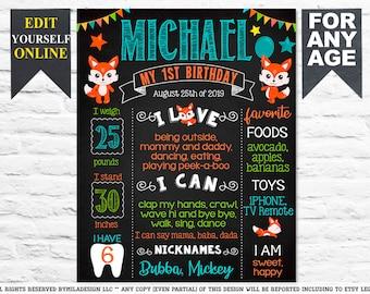 Printable Birthday Poster Fox Milestone Poster First Year Achievement Poster First Birthday Poster Fox Woodland Bear Milestone Poster