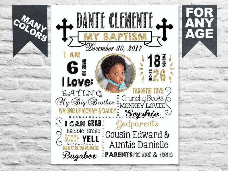 Printable Baptism chalkboard sign on white 433 First Communion Christening poster banner milestone board  decor with photo gold black