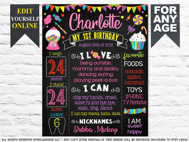 1st party chalk board poster banner milestone template supplies favors 728 Candyland Candy Candies First Birthday chalkboard sign