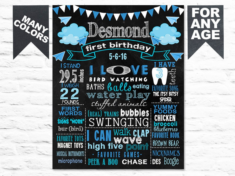 graphic relating to Eat More Chicken Sign Printable named Printable Clouds Paper Airplanes Birthday chalkboard indicator - Initial 1st Birthday bash chalk board poster banner milesone for a boy blue (320)