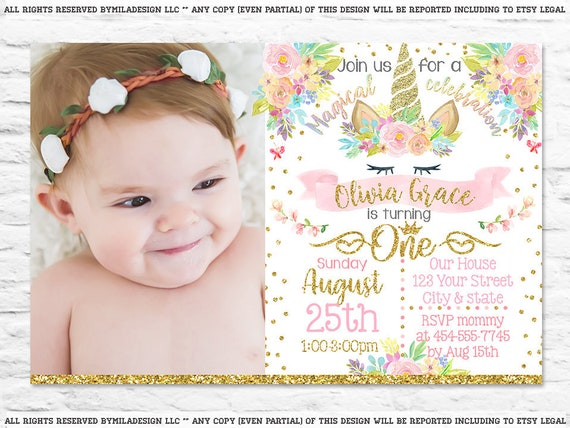 printable unicorn first birthday party invitation invites etsy