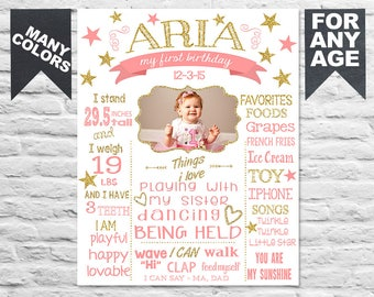 Printable twinkle twinkle little star first birthday sign on white with photo picture - 1st b-day chalk board poster banner milestone (369