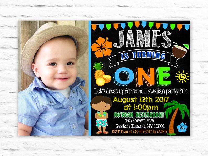 Printable First Birthday Luau Boy Invitations
