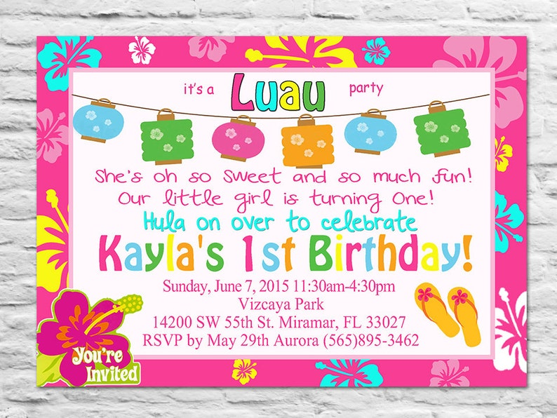 Printable Luau Birthday Party Invitation Or Thank You Card For