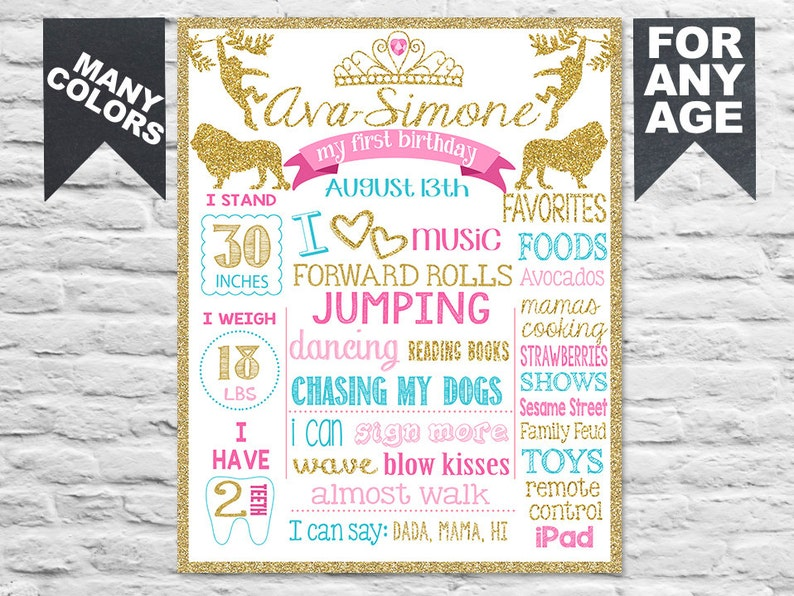 Printable Wild One First Birthday Sign Wild things Poster Safari animals  jungle Banner Milestone Pink and Gold (268)
