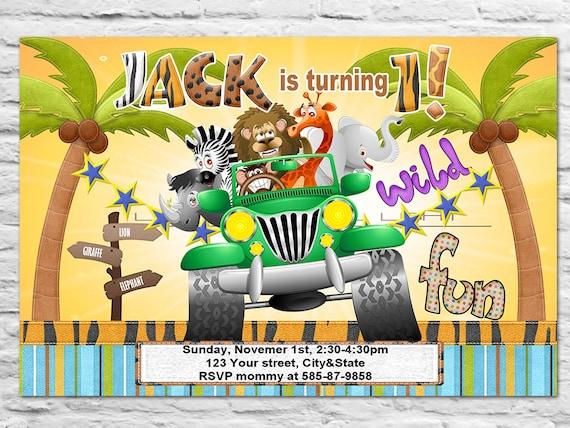 Para Imprimir Selva Zoo Piscina Cumpleaños Invitación O Gracias Tarjeta Chica O Chico Grandes Animales Salvajes Safari En Jeep