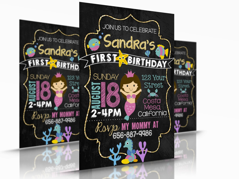Para imprimir tarjeta de cumpleaños de la sirena invitación o | Etsy