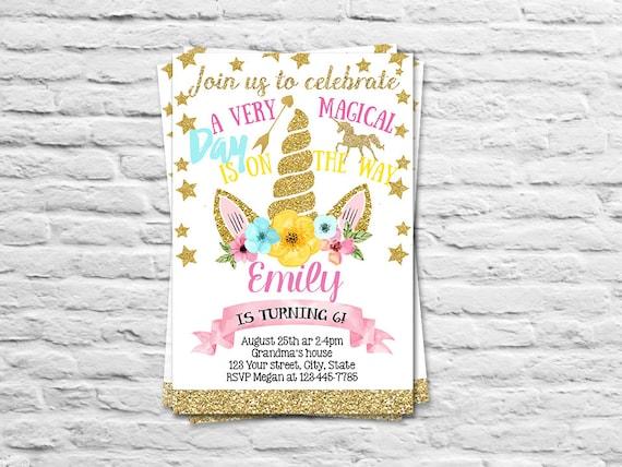Para Imprimir Invitación Cumpleaños Unicornio Para Una Niña Tarjeta De Invitación De B Día De Unicornio Unicornio De Oro Rosado 1er Cumpleaños
