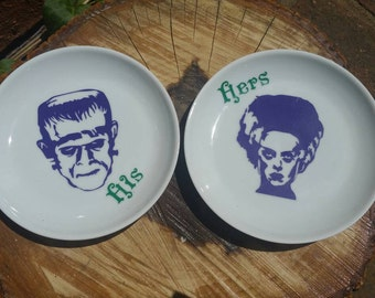 Ring Dish. Monogram Dish. Personalized Dish. Decorative Dish. Frankenstein. Jewelry Dish. Wedding Gift. His and Her Gift. Valentine's Day.