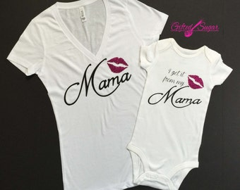 Get it from my mama, mommy and me, I get it from my mama, Mother and Daughter Glitter Tshirt,Mother's Day,Birthday