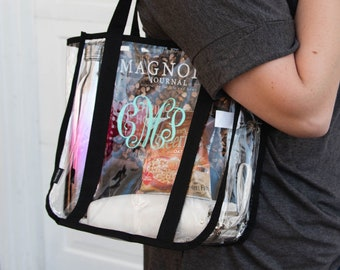 Clear Stadium Tote - Monogrammed Clear Bag - Gifts for College Students - Clear Event Bag - Gameday Gifts - Game Day Tote - Football Gifts