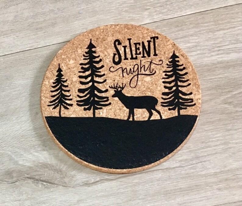 Cork Trivet  Forest Scene  Silent Night  Christmas Kitchen image 0