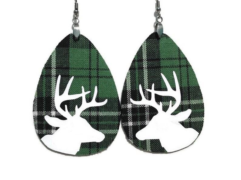 Green Plaid Deer Earrings  Faux Leather Earrings  Fabric image 0