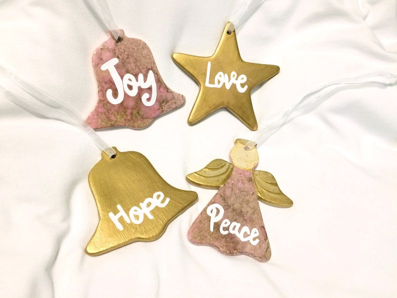 Hand Painted Gold and Pink Ceramic Ornament Gift Set Ornament Swap Gift Idea Joy Hope Peace Love Rose and Gold Christmas Ornament Set