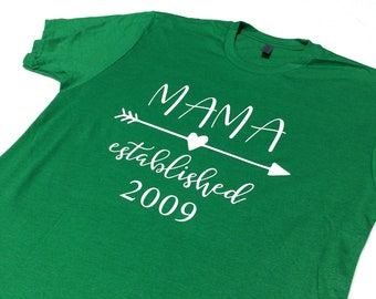 Mama Established Tee - Mother's Day Gift - Pushing Present - Postpartum Gift - Gifts for Moms - Choose Color - Customize Year - New Mom Gift