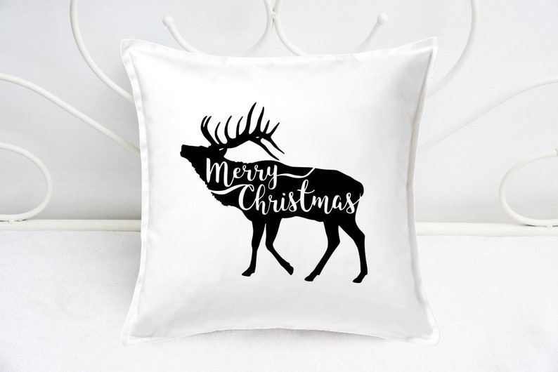 Throw Pillow Cover  Christmas Cushion Covers  Reindeer Merry image 0