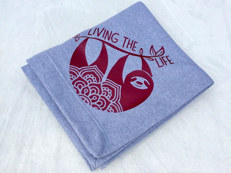 Relaxation Gifts Sloth Mandala Blanket Cozy Sweatshirt Fabric Throw Sloth Life Blanket Living the Sloth Life Cuddle Blanket