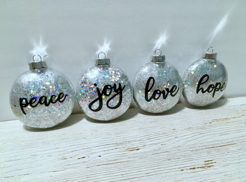 Ornament Set  Chunky Silver Glitter Disc Ornament  Peace image 0