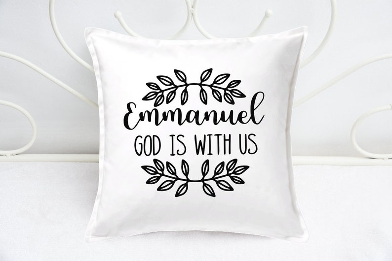 Throw Pillow Cover  Christmas Cushion Covers  Emmanuel God image 0