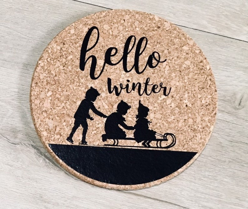Cork Trivet  Winter Trivet  Neutral Christmas Kitchen  image 0