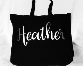 Personalized Tote Bag - Zipper Tote with Inner Zipper Pocket - Black Tote with Silver Lettering or Gold Lettering - Bridesmaid Gift Ideas