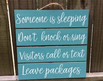 Someone Is Sleeping - Be Quiet Sign - Don't Wake Baby - Quiet Please - Night Shift Worker - Door Sign - Daytime Sleeper - Baby Shower Gift