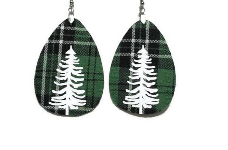 Green Plaid Tree Earrings  Faux Leather Earrings  Fabric image 0