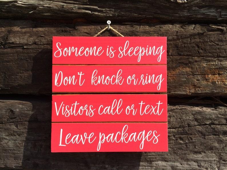 Quiet Sign Baby Shower Gift Night Shift Worker Door Hanger Someone Is Sleeping Red Be Quiet Sign Don/'t Wake Baby Red Door Sign