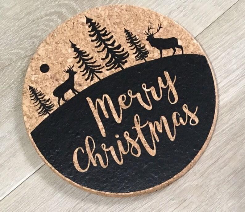 Cork Trivet  Merry Christmas  Forest Scene Trivet  image 0