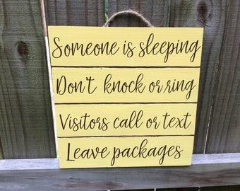 Someone Is Sleeping - Lemon Yellow - Be Quiet Sign - Don't Wake Baby - Quiet Please - Night Shift Worker - Door Sign - Baby Shower Gift