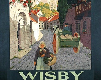 Sweden Wisby Schweden  Europe Travel Tourism Vintage Poster Repro FREE SHIPPING