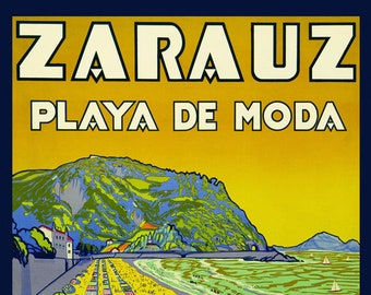 Spain Zarautz  Beach Ocean and Mountain in Gipuzkoa Vintage Poster Repro FREE SHIPPING in USA