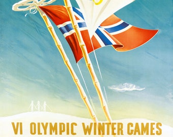 bf99d10e67e Olympic Winter Games 1952 Oslo Norway Ski Sport Vintage Poster Repro  Shipped Rolled Up FREE SHIPPING in USA