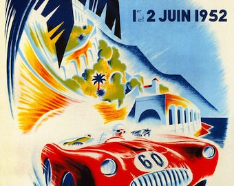 POSTER 1907 AUTOMOBILE SHOW CAR MAN WITH WITH WINGS ITALY VINTAGE REPRO FREE S//H