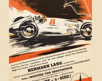 Car Belgium 1939 Mercedes Benz Race 16X20 Vintage Poster Repro FREE S//H in USA