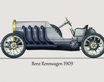 car 1909 mercedes benz renwagen automobile germany german european vintage poster repro free shipping in usa