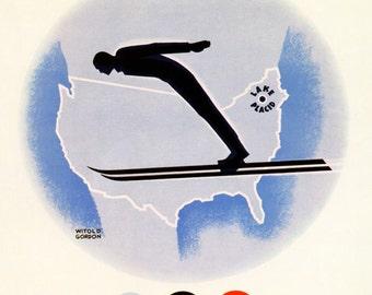 Olympics 1932 Lake Placid New York Vintage Poster Print Winter Games Skiing