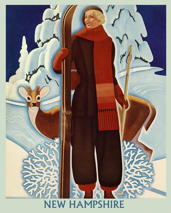 STOWE Ski Northern Vermont Winter Sport Vintage Poster Repro FREE S//H in USA