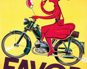 Motorcycle Girl Lady Favor Simple Pratique Elegant  Bike Fine Vintage Poster Repro FREE SHIPPING in USA Standard Image Sizes for Framing