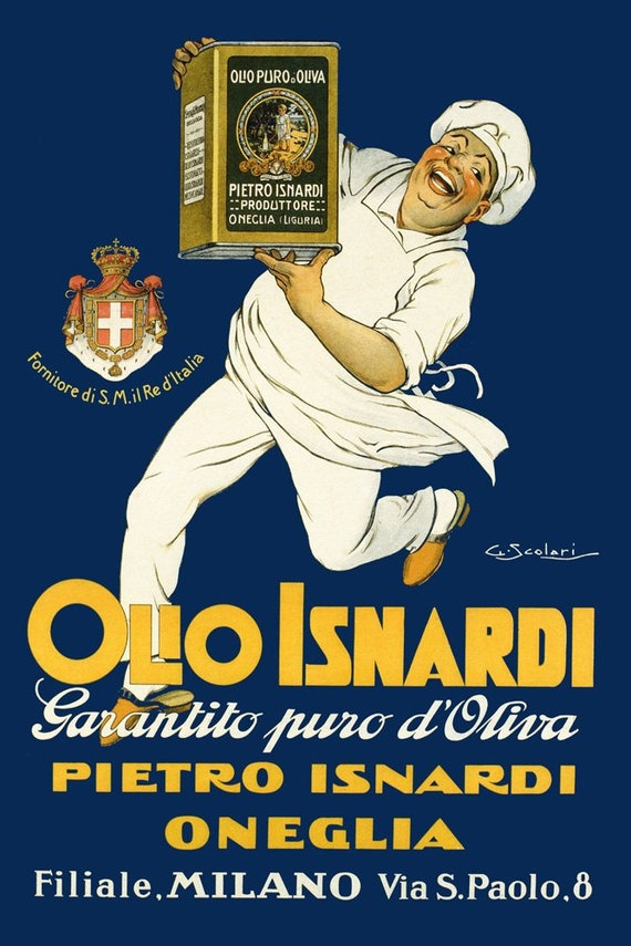 Olive Oil Olio Isnardi Cook Chef Kitchen Milan Milano  16X20 Vint Poster FREE SH