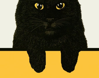 Cat Beautiful Black Cat Chat Noir Vintage Poster Repro FREE SHIPPING