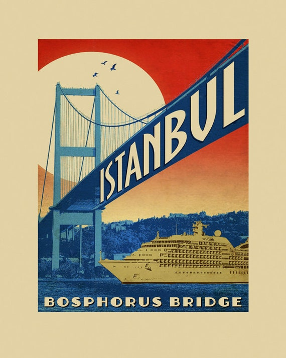 Istanbul  Bosphorus Bridge Turkey Travel Tourism Vintage Poster Repro FREE S//H