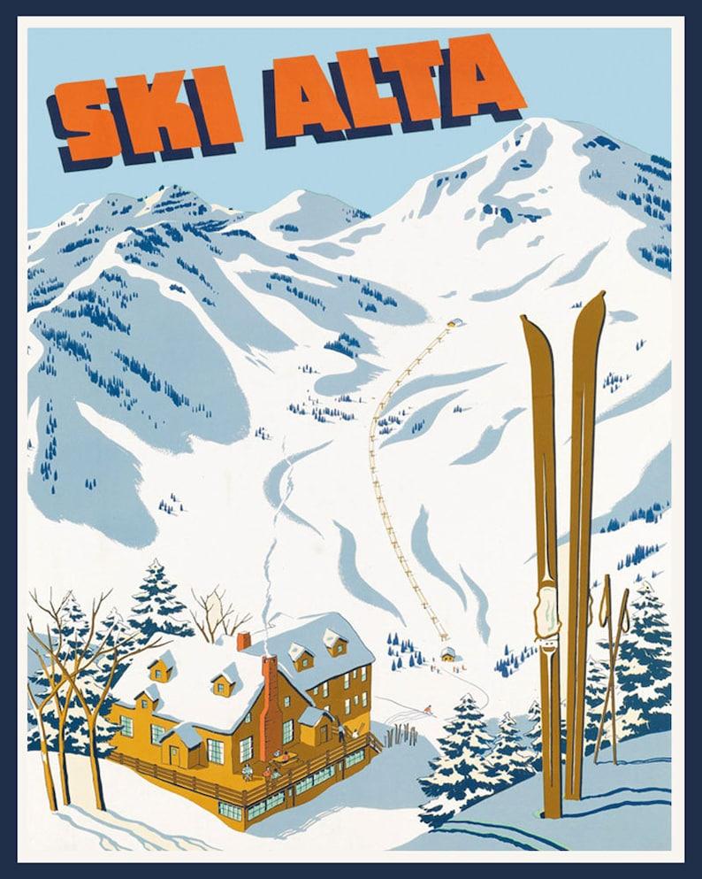 POSTER PARK CITY UTAH SKI WINTER SPORT ENJOY THE RIDE VINTAGE REPRO FREE S//H