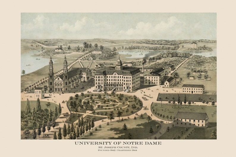 Map Notre Dame 1842 University of Notre Dame South Bend Indiana Bird\'s Eye  View Map American Vintage Poster Repro FREE SHIPPING in USA