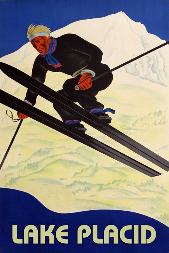 Lake Placid Ski Winter Sport Jumping Mountain  Vintage Poster Repro FREE S//H