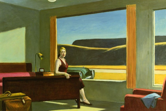 Edward Hopper Movie Theater Lady Fine Art Poster Repro FREE SH Shipped rolled