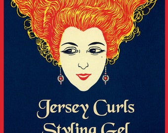 Salon Fashion New Jersey Curls Hair Styling Gel American Vintage Poster Repro FREE SHIPPING in USA