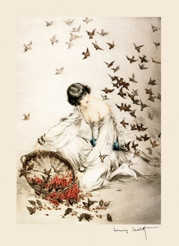 Icart Art Deco Lady Feeding Birds By Louis Icart Toulouse France French Artist Vintage Poster Repro Free Shipping In Usa